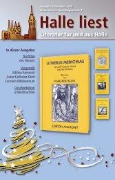 Literatur für und aus Halle - Halle liest - Projekte-Verlag Cornelius