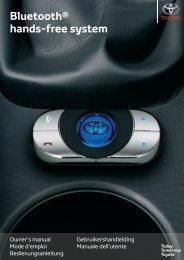 Toyota Bluetooth hands - PZ420-I0290-ME - Bluetooth hands-free system (English French German Dutch Italian) - mode d'emploi