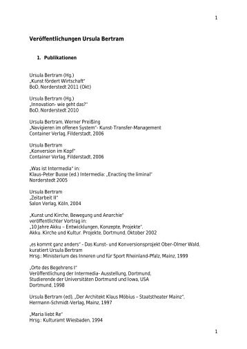 Veröffentlichungen Ursula Bertram - Sinn-Stiftung