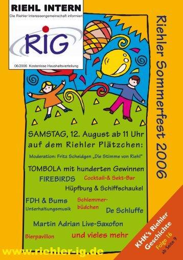 riehl intern 2/2006 - Riehler Interessengemeinschaft eV