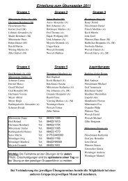 Einteilung zum Übungsplan 2011