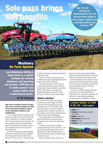 Sole pass brings soil benefits