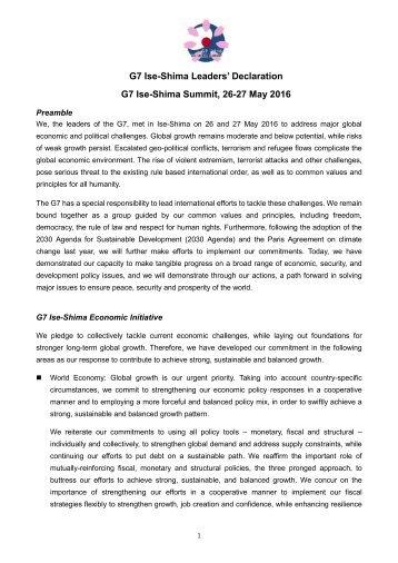 G7 Ise-Shima Leaders' Declaration G7 Ise-Shima Summit 26-27 May 2016