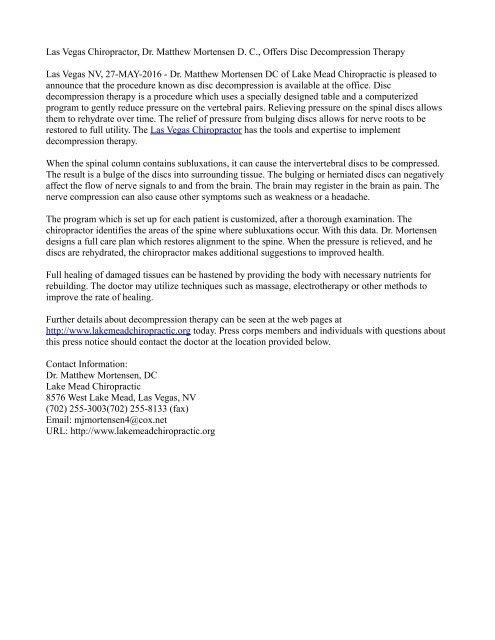 Las Vegas Chiropractor, Dr. Matthew Mortensen D. C., Offers Disc Decompression Therapy