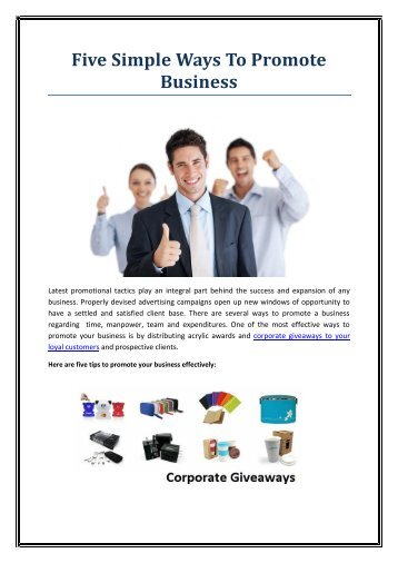 Five Simple Ways To Promote Business