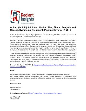 Opium (Opioid) Addiction Pipeline Review, H1 Market  Analysis and Forecast 2016