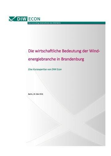 Die wirtschaftliche Bedeutung der Windenergiebranche in Brandenburg