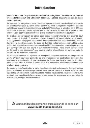 Toyota TNS510 - PZ445-00333-FR - TNS510 (French) - mode d'emploi