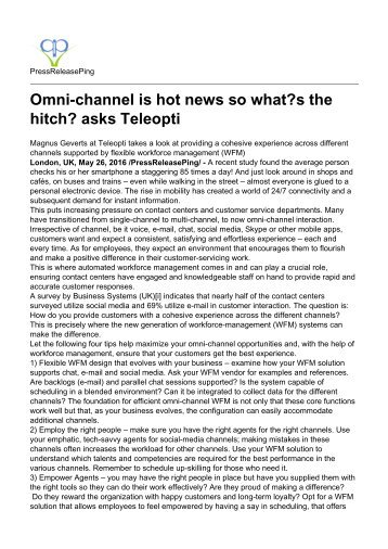 Omni-channel is hot news so what's the hitch asks Teleopti