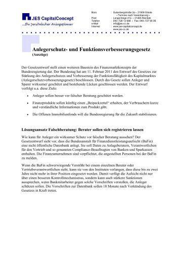 Anlegerschutz - JES CapitalConcept GmbH