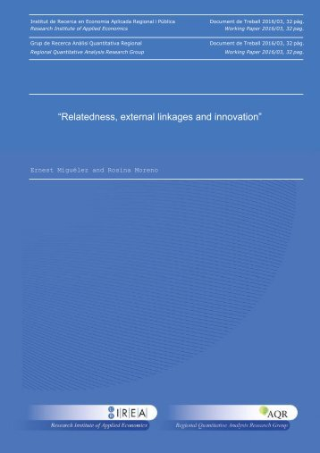"""Relatedness external linkages and innovation"""