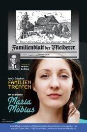 Familienblatt der Pfleiderer, Sommer 2016