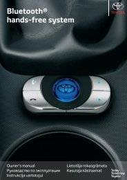Toyota Bluetooth hands - PZ420-I0290-BE - Bluetooth hands-free system (English Russian Lithuanian Latvian Estonian) - mode d'emploi