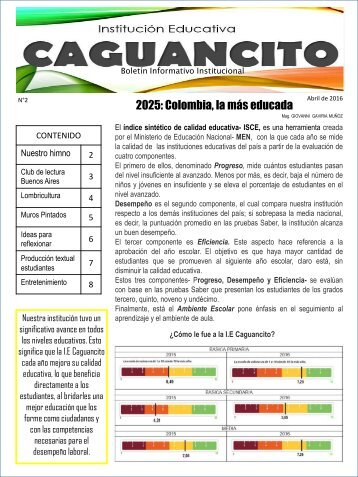 SEGUNDO BOLETÍN INFORMATIVO INSTITUCIONAL ABRIL 2016
