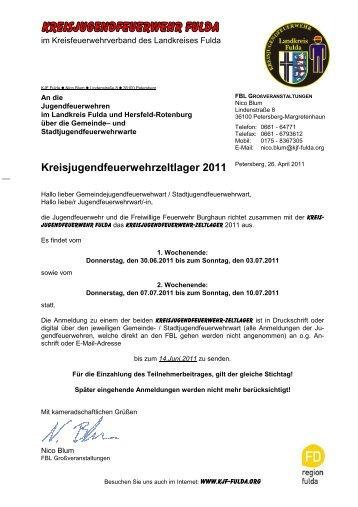Kreisjugendfeuerwehrzeltlager 2011 - Kreisfeuerwehrverband Fulda ...
