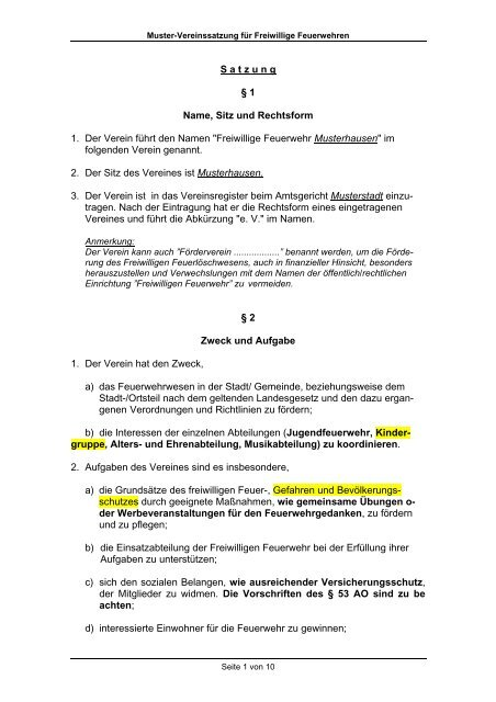 Satzung Nicht Gemeinnutziger Verein Muster Zum Download 11