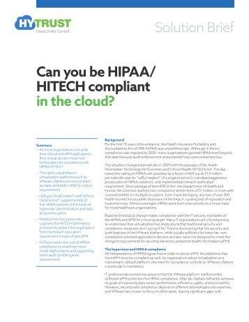 Can you be HIPAA/ HITECH compliant in the cloud?