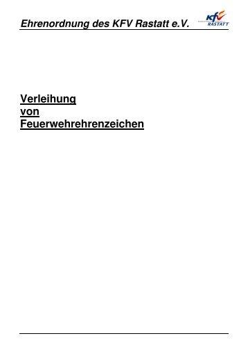 Ehrenordnung des KFV Rastatt eV - Kreisfeuerwehrverband Rastatt