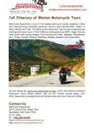 Full Itinerary of Bhutan Motorcycle Tours