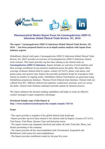 Cytomegalovirus (HHV-5) Infections Global Clinical Trials Review, H1, 2016