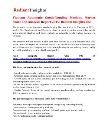 Vietnam Automatic Goods-Vending Machine Market Share and Analysis Report 2019