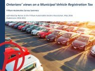 Ontarians' views on a Municipal Vehicle Registration Tax