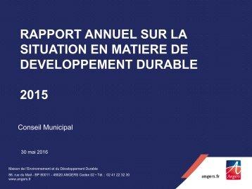 SITUATION EN MATIERE DE DEVELOPPEMENT DURABLE 2015