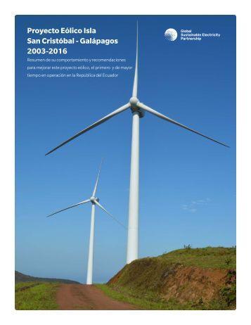 Proyecto Eólico Isla San Cristóbal - Galápagos 2003-2016