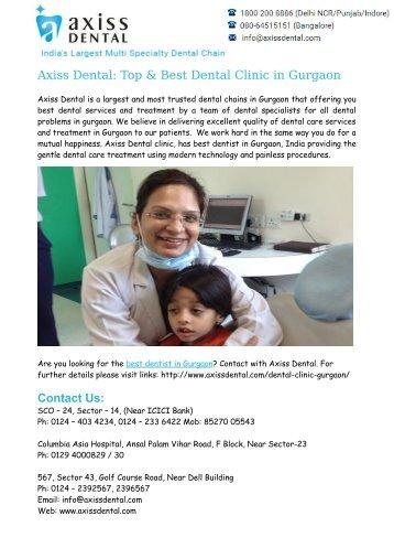 Best Dentist in Gurgao – Axiss Dental