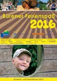 Bürener Ferienspass Programmheft 2016