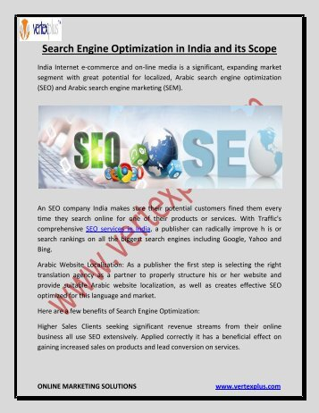 Search Engine Optimization in India and its Scope