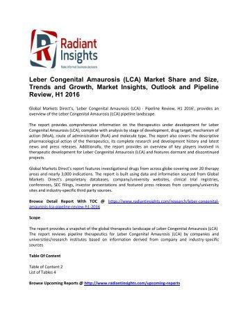 Leber Congenital Amaurosis (LCA) Market 2016 Market Size, Share, trends and Forecast  2016
