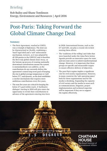 Post-Paris Taking Forward the Global Climate Change Deal