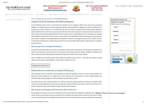 Buy Hospital CIO Email Lists, Hospital CIO Mailing Lists US, UK