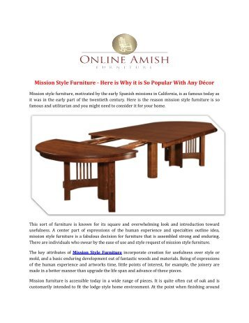 Mission Style Furniture Here Is Why It So Por With Any Décor