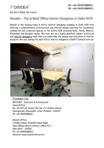 Best Office Interior Designers in Delhi NCR