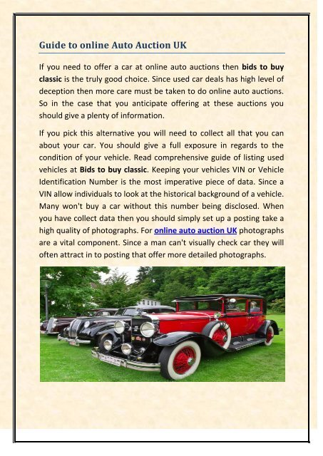 Guide To Online Auto Auction Uk