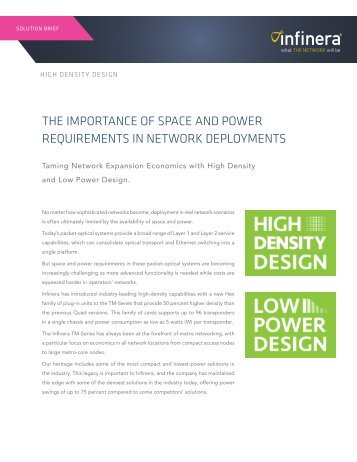THE IMPORTANCE OF SPACE AND POWER REQUIREMENTS IN NETWORK DEPLOYMENTS