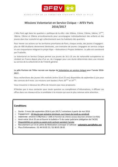 Missions Volontariat en Service Civique – AFEV Paris 2016/2017