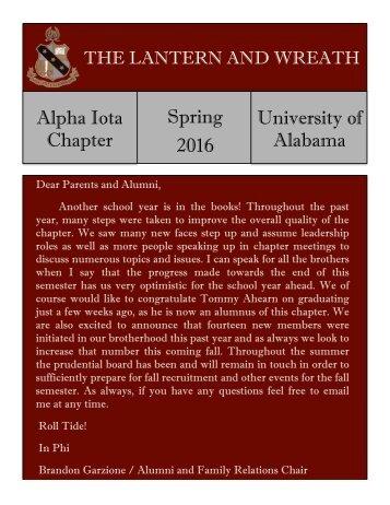Alpha Sigma Phi Spring Newsletter 2016
