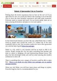 Dubai: A Spectacular City to Travel to