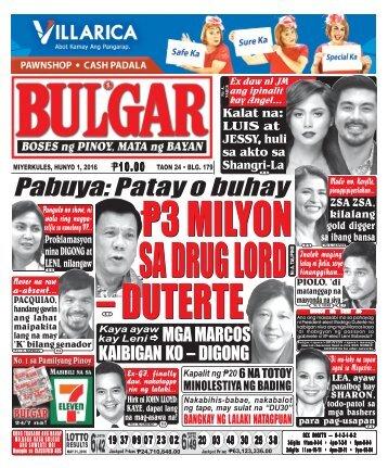 June 1, 2016 BULGAR: BOSES NG PINOY, MATA NG BAYAN