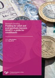 Funding for adult and post-graduate learners 2016/17 a guide for constituents