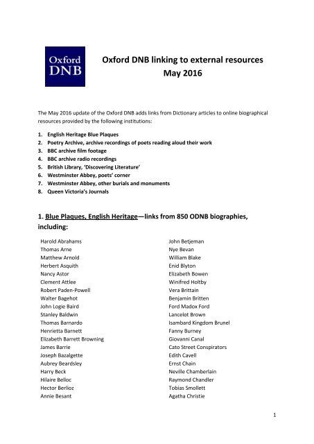 Oxford DNB linking to external resources May 2016