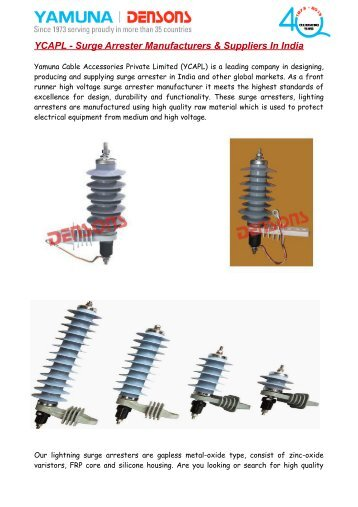 YCAPL - Surge Arrester Manufacturers & Suppliers In India