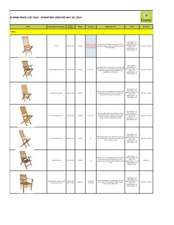 Bhome Wholesale Pricelist Teak 2016