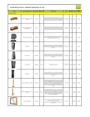 Bhome Wholesale Pricelist Decor 2016