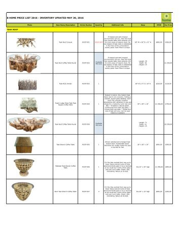 Bhome Wholesale Pricelist Teak Root 2016