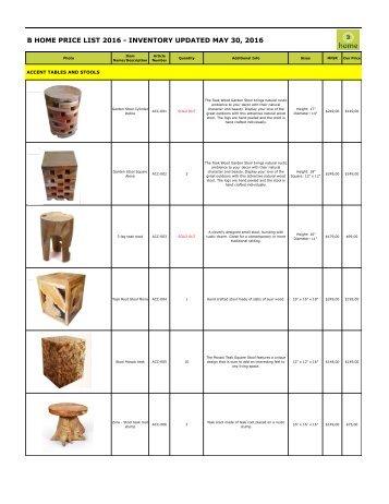 Bhome Wholesale Pricelist Stools 2016
