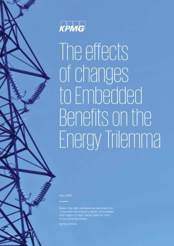 The effects of changes to Embedded Benefits on the Energy Trilemma